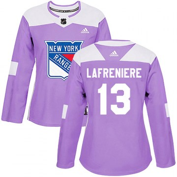 Adidas New York Rangers Women's Alexis Lafreniere Authentic Purple Fights Cancer Practice NHL Jersey