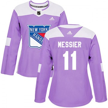Adidas New York Rangers Women's Mark Messier Authentic Purple Fights Cancer Practice NHL Jersey