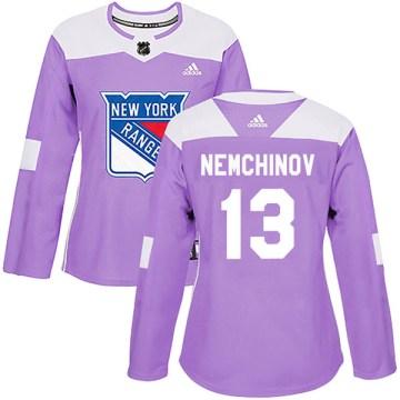 Adidas New York Rangers Women's Sergei Nemchinov Authentic Purple Fights Cancer Practice NHL Jersey