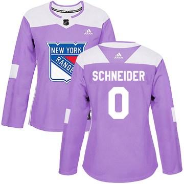 Adidas New York Rangers Women's Braden Schneider Authentic Purple Fights Cancer Practice NHL Jersey