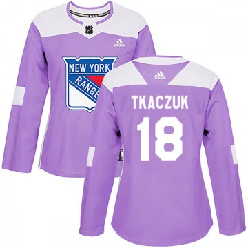 Adidas New York Rangers Women's Walt Tkaczuk Authentic Purple Fights Cancer Practice NHL Jersey