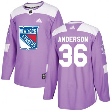 Adidas New York Rangers Youth Glenn Anderson Authentic Purple Fights Cancer Practice NHL Jersey