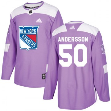 Adidas New York Rangers Youth Lias Andersson Authentic Purple Fights Cancer Practice NHL Jersey
