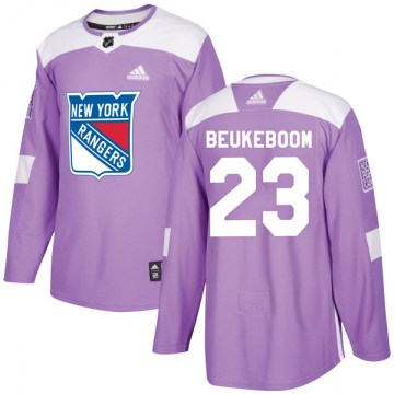 Adidas New York Rangers Youth Jeff Beukeboom Authentic Purple Fights Cancer Practice NHL Jersey