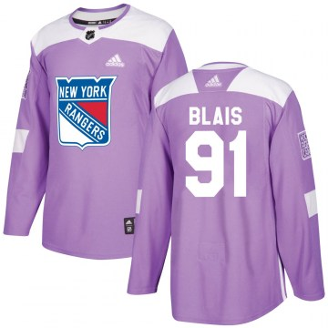 Adidas New York Rangers Youth Sammy Blais Authentic Purple Fights Cancer Practice NHL Jersey