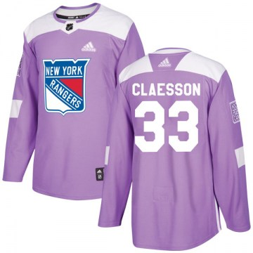 Adidas New York Rangers Youth Fredrik Claesson Authentic Purple Fights Cancer Practice NHL Jersey