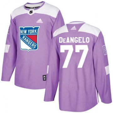 Adidas New York Rangers Youth Tony DeAngelo Authentic Purple Fights Cancer Practice NHL Jersey