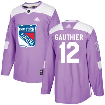 Adidas New York Rangers Youth Julien Gauthier Authentic Purple ized Fights Cancer Practice NHL Jersey