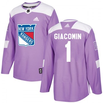Adidas New York Rangers Youth Eddie Giacomin Authentic Purple Fights Cancer Practice NHL Jersey