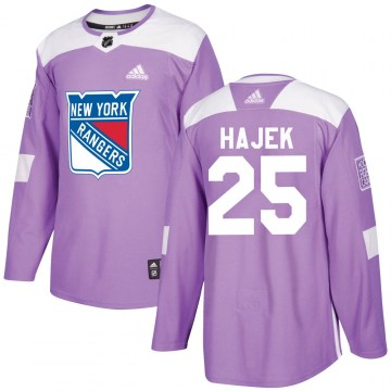 Adidas New York Rangers Youth Libor Hajek Authentic Purple ized Fights Cancer Practice NHL Jersey