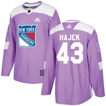 Adidas New York Rangers Youth Libor Hajek Authentic Purple Fights Cancer Practice NHL Jersey