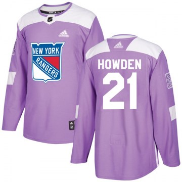 Adidas New York Rangers Youth Brett Howden Authentic Purple Fights Cancer Practice NHL Jersey