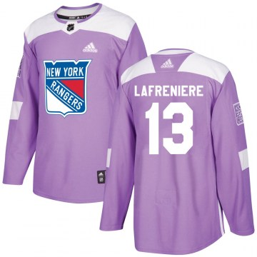 Adidas New York Rangers Youth Alexis Lafreniere Authentic Purple Fights Cancer Practice NHL Jersey