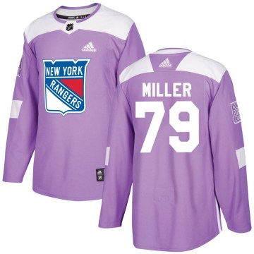 Adidas New York Rangers Youth KAndre Miller Authentic Purple Fights Cancer Practice NHL Jersey