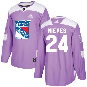 Adidas New York Rangers Youth Boo Nieves Authentic Purple Fights Cancer Practice NHL Jersey