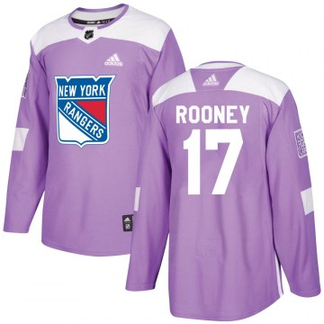 Adidas New York Rangers Youth Kevin Rooney Authentic Purple Fights Cancer Practice NHL Jersey