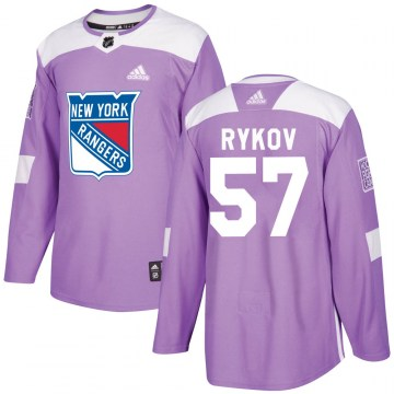 Adidas New York Rangers Youth Yegor Rykov Authentic Purple Fights Cancer Practice NHL Jersey
