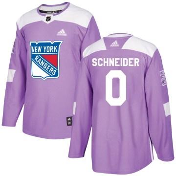 Adidas New York Rangers Youth Braden Schneider Authentic Purple Fights Cancer Practice NHL Jersey