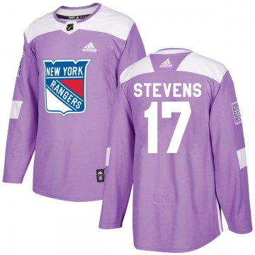 Adidas New York Rangers Youth Kevin Stevens Authentic Purple Fights Cancer Practice NHL Jersey