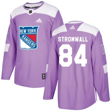 Adidas New York Rangers Youth Malte Stromwall Authentic Purple Fights Cancer Practice NHL Jersey