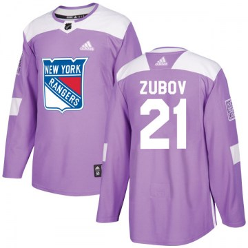 Adidas New York Rangers Youth Sergei Zubov Authentic Purple Fights Cancer Practice NHL Jersey