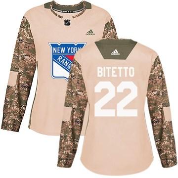Adidas New York Rangers Women's Anthony Bitetto Authentic Camo Veterans Day Practice NHL Jersey
