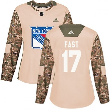Adidas New York Rangers Women's Jesper Fast Authentic Camo Veterans Day Practice NHL Jersey