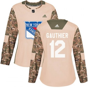 Adidas New York Rangers Women's Julien Gauthier Authentic Camo ized Veterans Day Practice NHL Jersey
