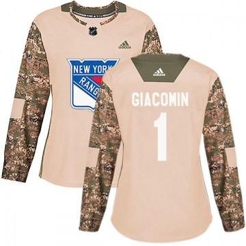 Adidas New York Rangers Women's Eddie Giacomin Authentic Camo Veterans Day Practice NHL Jersey