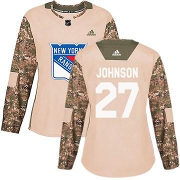 Adidas New York Rangers Women's Jack Johnson Authentic Camo Veterans Day Practice NHL Jersey