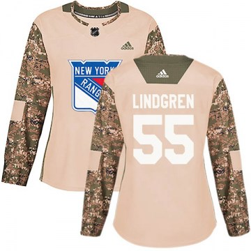 Adidas New York Rangers Women's Ryan Lindgren Authentic Camo Veterans Day Practice NHL Jersey
