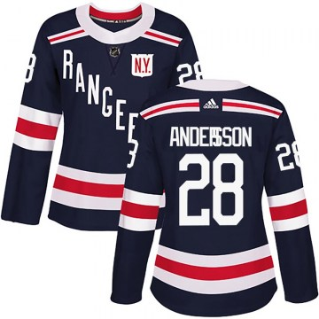 Adidas New York Rangers Women's Lias Andersson Authentic Navy Blue 2018 Winter Classic Home NHL Jersey
