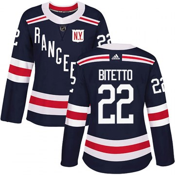 Adidas New York Rangers Women's Anthony Bitetto Authentic Navy Blue 2018 Winter Classic Home NHL Jersey