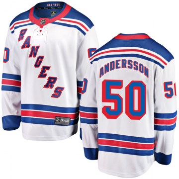Fanatics Branded New York Rangers Youth Lias Andersson Breakaway White Away NHL Jersey