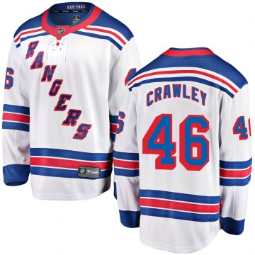 Fanatics Branded New York Rangers Youth Brandon Crawley Breakaway White ized Away NHL Jersey