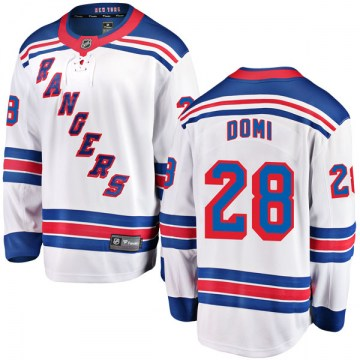 Fanatics Branded New York Rangers Youth Tie Domi Breakaway White Away NHL Jersey