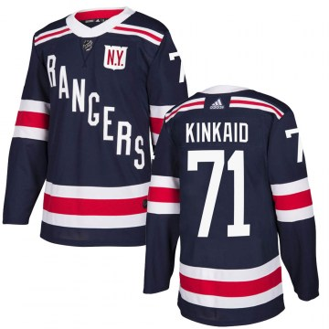 Adidas New York Rangers Youth Keith Kinkaid Authentic Navy Blue 2018 Winter Classic Home NHL Jersey