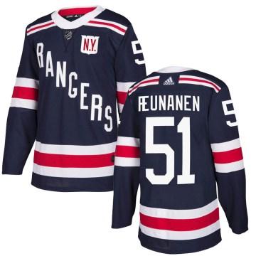 Adidas New York Rangers Youth Tarmo Reunanen Authentic Navy Blue 2018 Winter Classic Home NHL Jersey