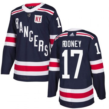 Adidas New York Rangers Youth Kevin Rooney Authentic Navy Blue 2018 Winter Classic Home NHL Jersey