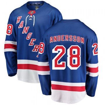 Fanatics Branded New York Rangers Youth Lias Andersson Breakaway Blue Home NHL Jersey