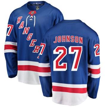 Fanatics Branded New York Rangers Youth Jack Johnson Breakaway Blue Home NHL Jersey