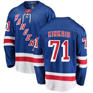 Fanatics Branded New York Rangers Youth Keith Kinkaid Breakaway Blue Home NHL Jersey