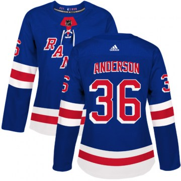 Adidas New York Rangers Women's Glenn Anderson Authentic Royal Blue Home NHL Jersey