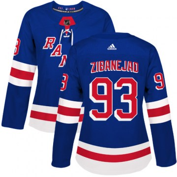 Adidas New York Rangers Women's Mika Zibanejad Authentic Royal Blue Home NHL Jersey