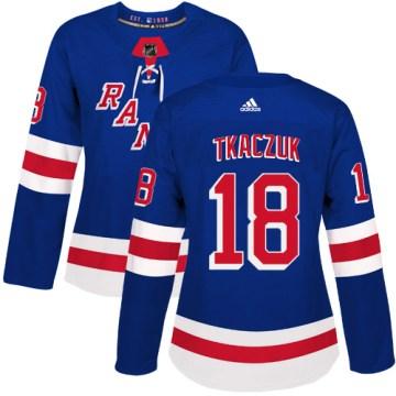 Adidas New York Rangers Women's Walt Tkaczuk Authentic Royal Blue Home NHL Jersey