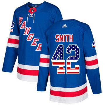 Adidas New York Rangers Youth Brendan Smith Authentic Royal Blue USA Flag Fashion NHL Jersey