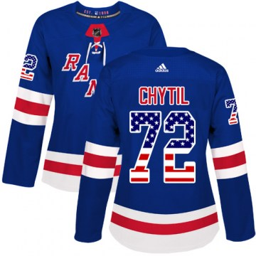 Adidas New York Rangers Women's Filip Chytil Authentic Royal Blue USA Flag Fashion NHL Jersey