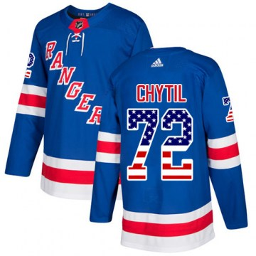 Adidas New York Rangers Youth Filip Chytil Authentic Royal Blue USA Flag Fashion NHL Jersey