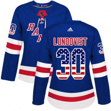 Adidas New York Rangers Women's Henrik Lundqvist Authentic Royal Blue USA Flag Fashion NHL Jersey