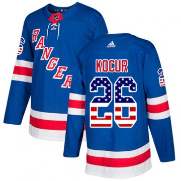 Adidas New York Rangers Men's Joe Kocur Authentic Royal Blue USA Flag Fashion NHL Jersey